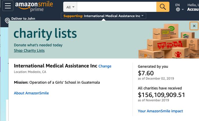 Support IMA with Amazon Smile